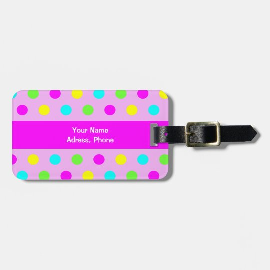 Funny Colourful Polka Dots - Address Luggage Tag