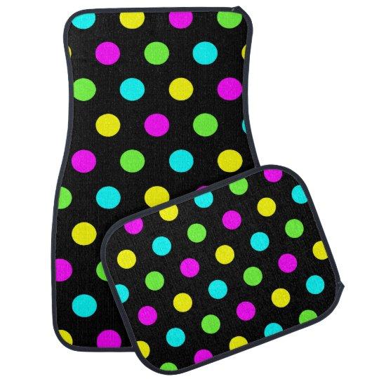 Funny Colourful Polka Dots Pattern - Car Mats