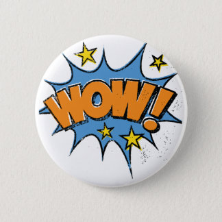 Funny Comic Cartoon Explosion with Nice WoW Text 6 Cm Round Badge