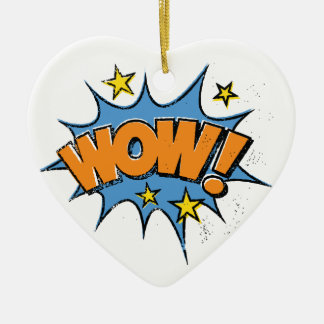 Funny Comic Cartoon Explosion with Nice WoW Text Ceramic Heart Decoration