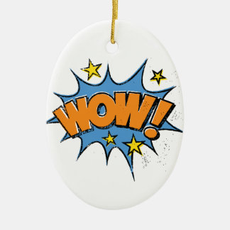 Funny Comic Cartoon Explosion with Nice WoW Text Ceramic Oval Decoration