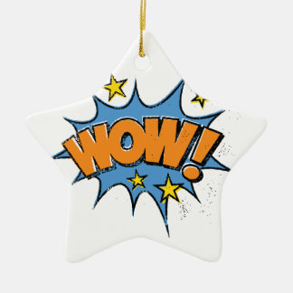 Funny Comic Cartoon Explosion with Nice WoW Text Ceramic Star Decoration