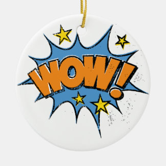 Funny Comic Cartoon Explosion with Nice WoW Text Round Ceramic Decoration