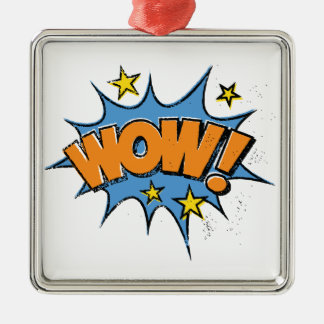 Funny Comic Cartoon Explosion with Nice WoW Text Silver-Colored Square Decoration