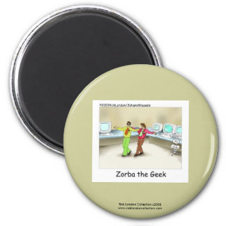 Funny Computer Geek Cartoon On Novelty Button 6 Cm Round Magnet