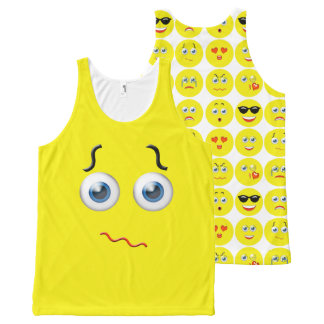 Funny Confused Emoji Yellow Pattern All-Over Print Tank Top