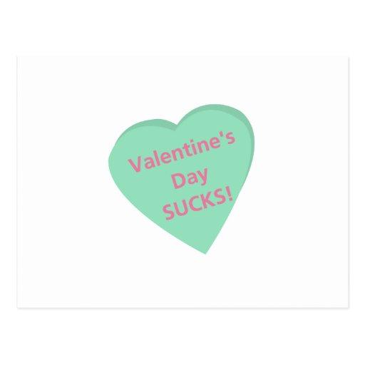 Funny conversation heart: Valentine's Day sucks! Post Card