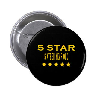 Funny Cool 16th Birthdays Five Star Sixteen Pinback Buttons