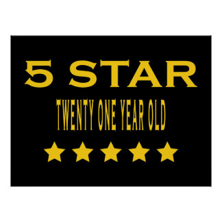 Funny Cool 21st Birthdays : Five Star Twenty One Posters