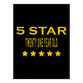 Funny Cool 21st Birthdays : Five Star Twenty One Print