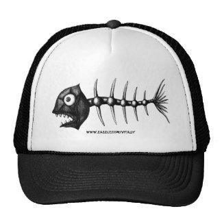 Funny cool fish skeleton ink drawing art hat