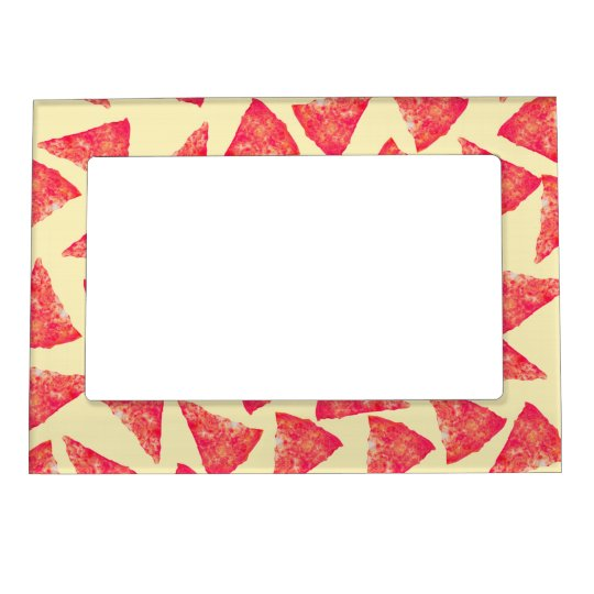 Funny Cool Funky Pizza Pattern Magnetic Picture Frame