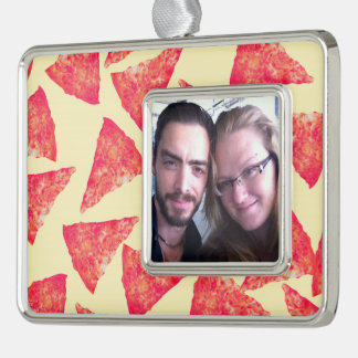 Funny Cool Funky Pizza Pattern Silver Plated Framed Ornament
