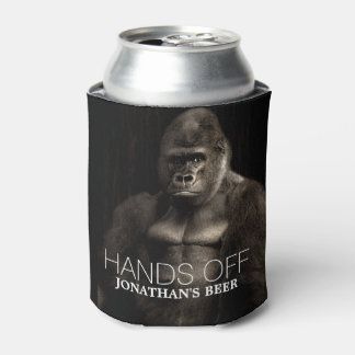 "Funny Cool Gorilla ""Hands off"" your name Beer Can Cooler"