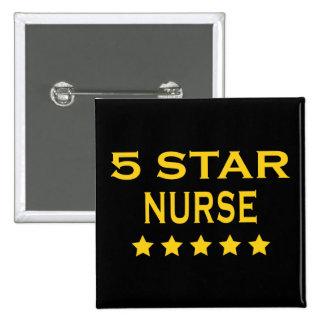 Funny Cool Nurses : Five Star Nurse 15 Cm Square Badge