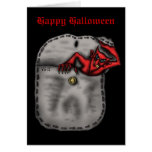 Funny cool red devil in the pocket Halloween card