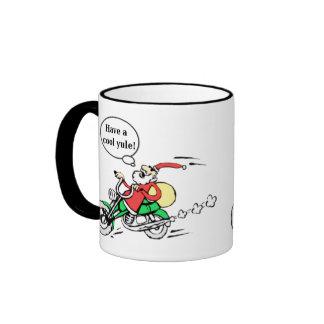Funny Cool Yule Santa Motorcycle Christmas Mug