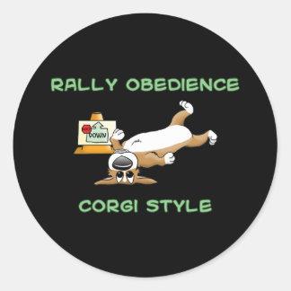 Funny Corgi Rally-o Cartoon Round Sticker