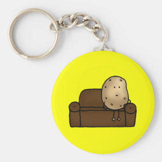 Funny couch potato basic round button key ring