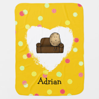 funny couch potato cartoon baby blanket