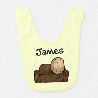 funny couch potato cartoon - just add name bibs