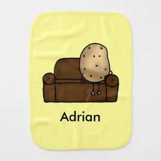 funny couch potato cartoon - just add name burp cloth