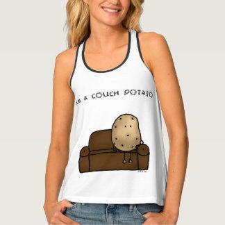 funny couch potato cartoon tank top
