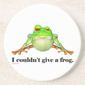 Funny Couldn't Give a Frog Cartoon Coaster