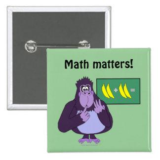 Funny Counting Gorilla Math Custom 15 Cm Square Badge