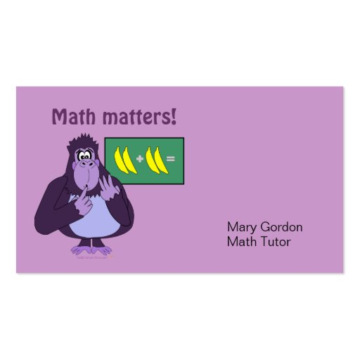 Funny Counting Gorilla Math Custom Business Cards