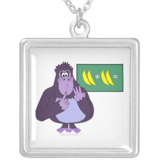 Funny Counting Gorilla Math Custom Square Pendant Necklace