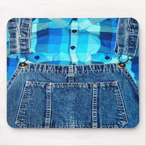 Funny Country Bumpkin Denim Overalls and Plaid Mouse Pads