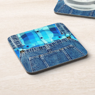 Funny Country Bumpkin Jean Overalls Drink Coasters
