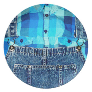 Funny Country Bumpkin Jean Overalls Plates