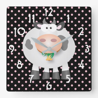 Funny Cow And Black And Pink Polka Dot Pattern Wallclocks