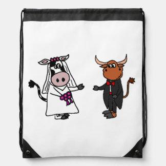 Funny Cow and Bull Wedding Design Drawstring Bag
