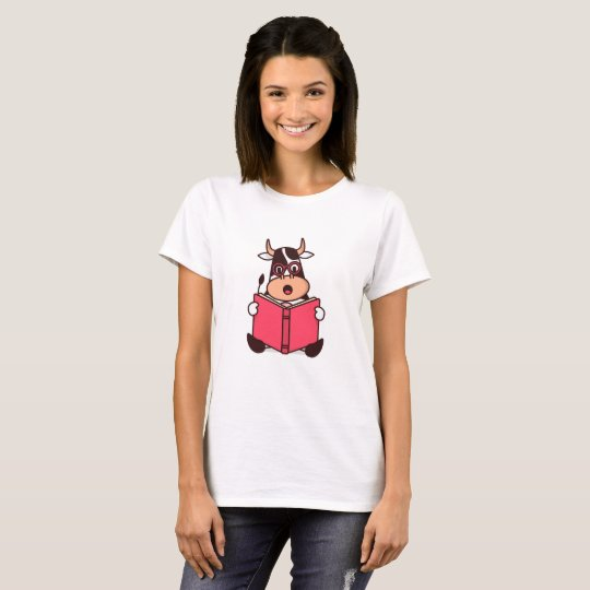 Funny Cow Bookworm Reading Lover Cartoon T-Shirt