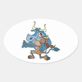 funny cow bull tango cartoon oval sticker