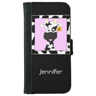 Funny cow cartoon girls iPhone 6 wallet case