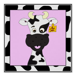 Funny cow cartoon kids poster