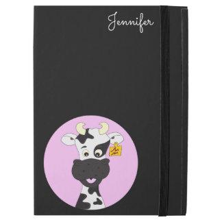 Funny cow cartoon pink black custom ipad case