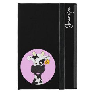 Funny cow cartoon pink black custom kids ipad case