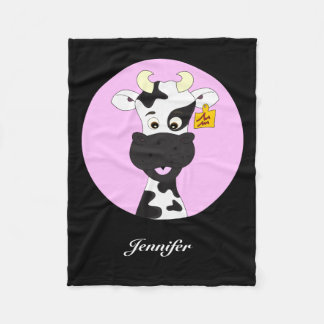 Funny cow cartoon pink black kids name blanket