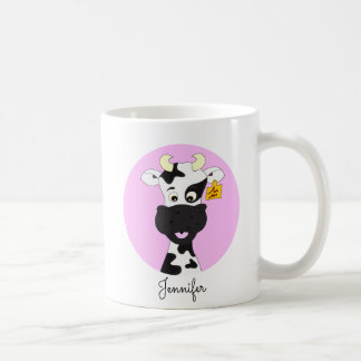Funny cow cartoon pink custom girls mug