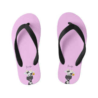 Funny cow cartoon pink custom kids slippers flip flops