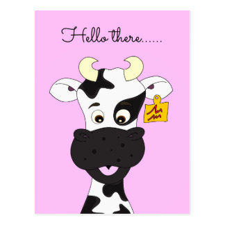Funny cow cartoon pink Hello postcard