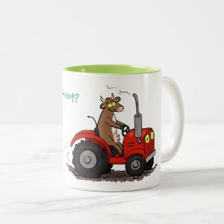 Funny cow driving red tractor cartoon Two-Tone coffee mug