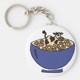 Funny Cow in Bowl of Toasted Oats Key Ring
