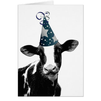 Funny Cow in Party Hat wants to Celebrate Greeting Card