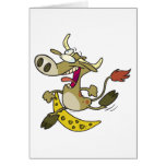 funny cow jumping over moon cartoon greeting card